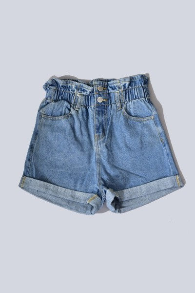 Elastic Hight Waist Denim Short