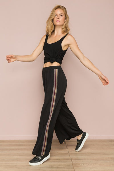 STRIPE TAPED SIDE, STRETCH WAIST BAND PALLAZO PANT