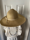 Womens Wide Brim Straw hat with gold accents