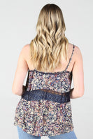 Navy Tank with lace