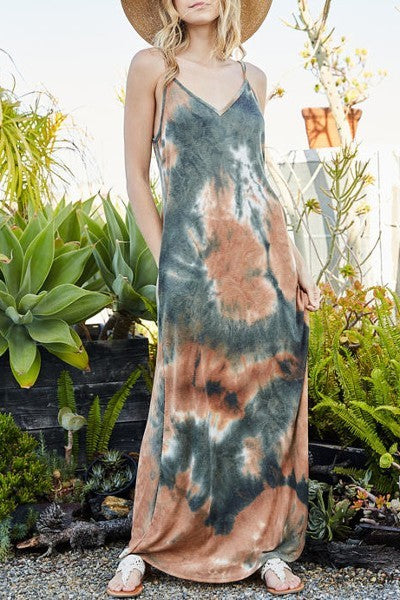 Tie Dye print maxi sleeveless adjustable spaghetti straps dress
