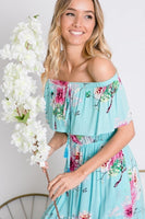 Floral Print Ruffle Overlay Dress