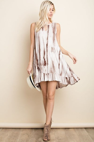 Tiered knee length tie dye dress