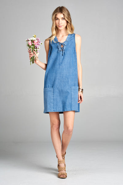 Denim Dress with front pockets and tie up neckline
