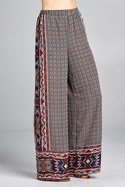 Border geometric print pants