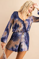 Tie dye, wrap style, long bubble sleeve romper with elastic on waist and sleeves