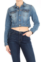 Cropped demin jacket stretch with button closure