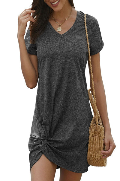 V-neck athletic wear fabrications side knot dress