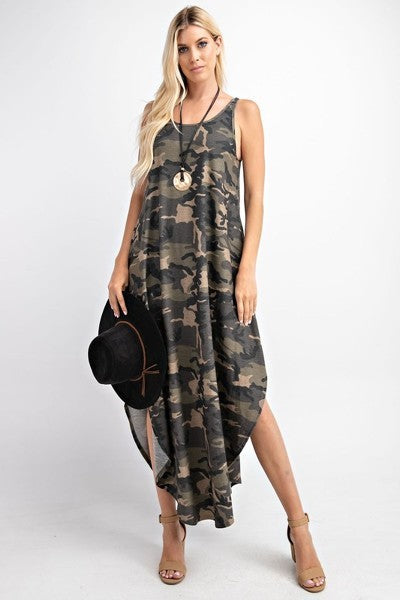 CAMO MAXI SLEEVELESS DRESS