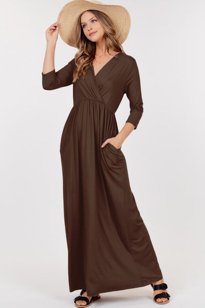 Long Sleeve V-Neck Empire Waist Maxi Dress with Pocket