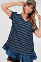 Short Sleeved Striped Tunic Top with ruffle hem