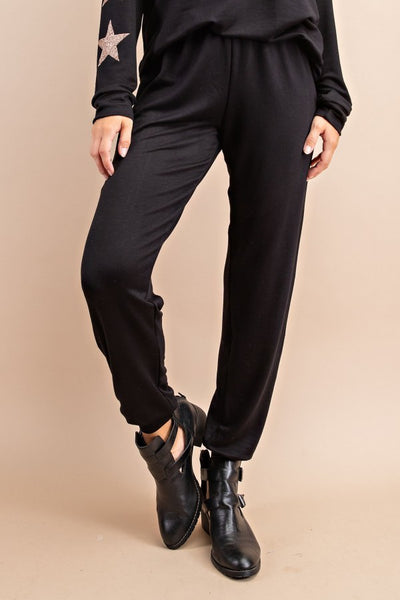 Black with Gold Stars Accent Pants. Part of Lounge Wear Set