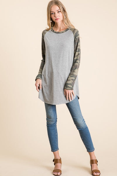 Gray and Camo jersey long sleeve shirt