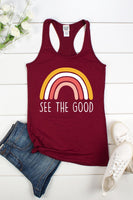 SEE THE GOOD,RAINBOW RACER BACK TANK TOP