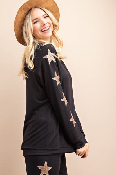 Lounge Wear Set Black with Gold Stars Accent, sweat shirt only