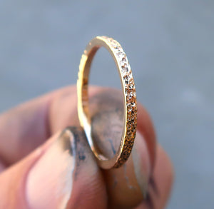 14K solid yellow gold textured stacking ring