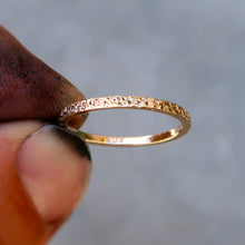 Load image into Gallery viewer, 14K solid yellow gold textured stacking ring