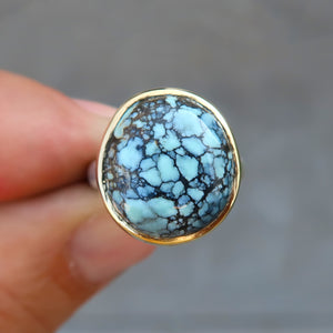Variscite 18K and sterling silver ring. Size 7
