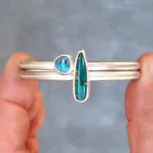 Load image into Gallery viewer, Nevada turquoise sterling silver stacking cuff set