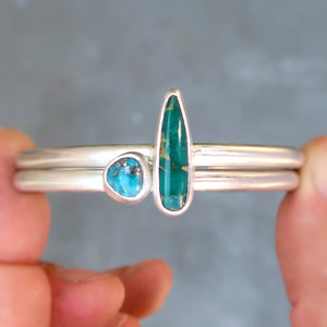 Nevada turquoise sterling silver stacking cuff set