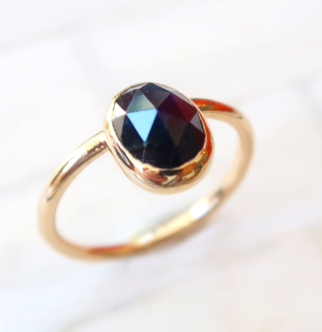 Sapphire 14K solid yellow gold ring