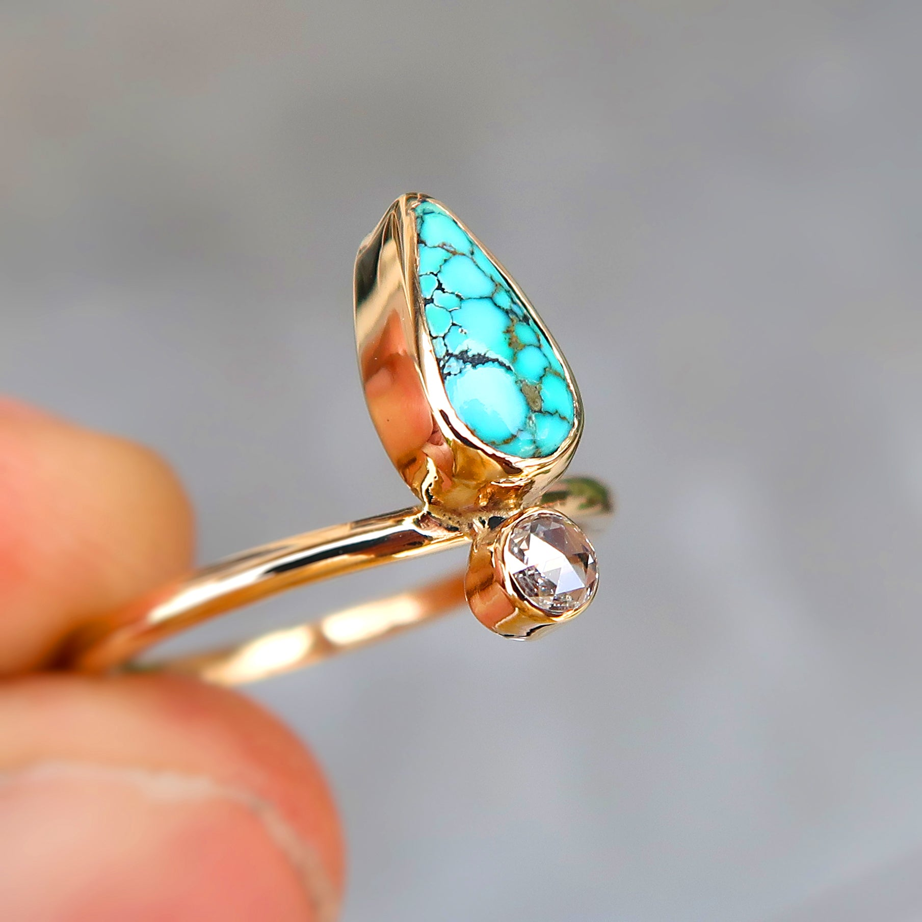 Details about  /Solid 14k Yellow Gold Handmade Jewelry Turquoise Slice Rose Cut Diamond Ring
