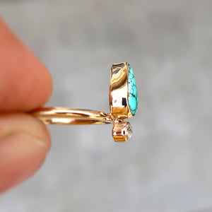 Number 8 mine turquoise and white rosecut diamond ring in 14K solid yellow gold. Size 6.5