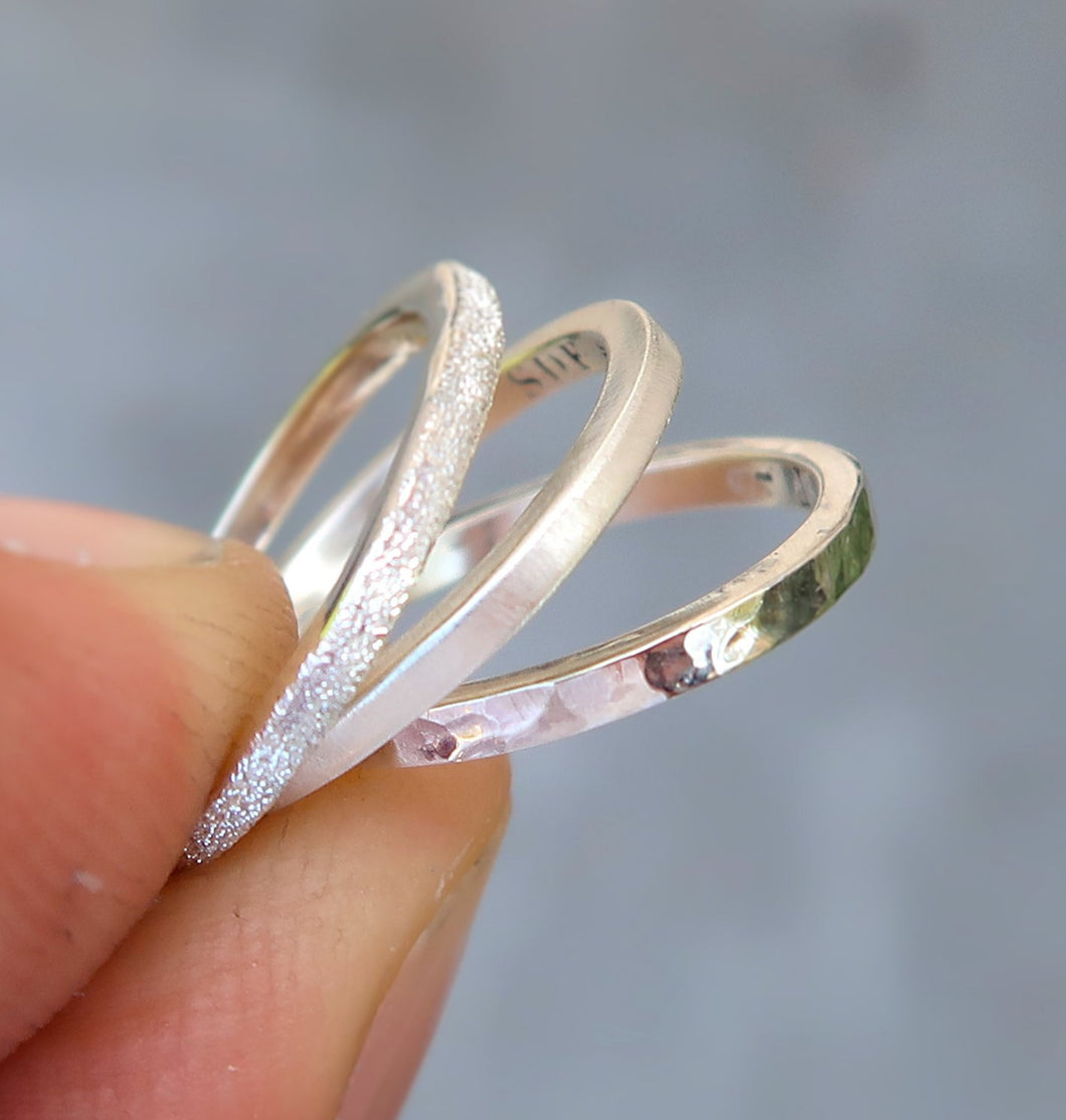 Sterling silver stacking set