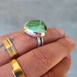 Damele variscite sterling silver statement ring. Size 8.25