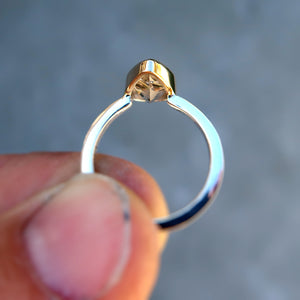 Rutilated Quartz  mixed metal 14K yellow gold sterling silver ring. Size 7