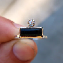 Load image into Gallery viewer, Black onyx and white rosecut diamond mixed metal 14K yellow gold sterling silver ring. Size 6.5