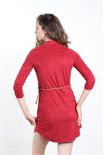 Women's suede dress with belt