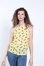 Women's Keyhole Back Feather Print Top