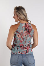 Women's Keyhole Back Halter Floral Top