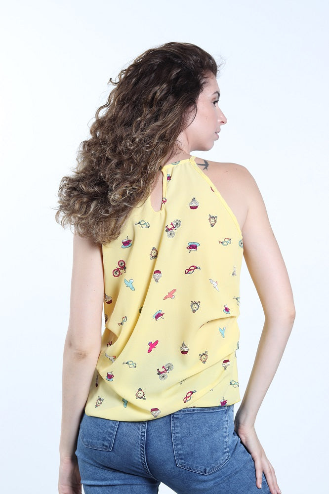 Women's Keyhole Back Halter Bicycle Print