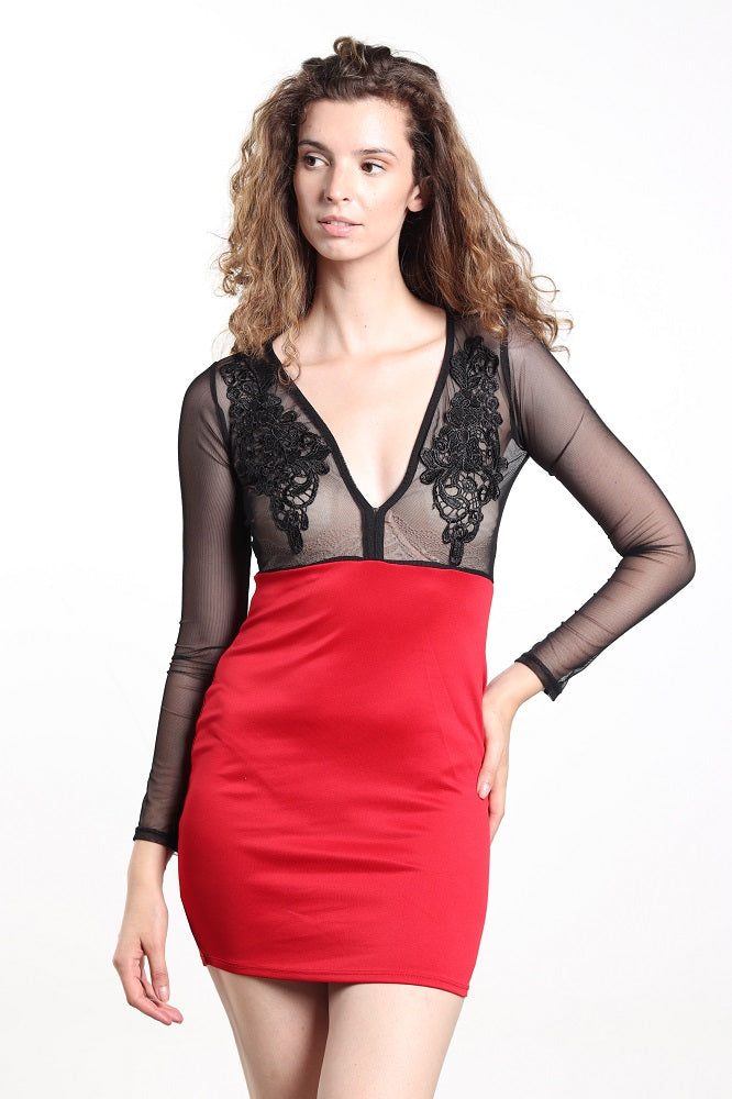 Women's Red Mesh Top Dress