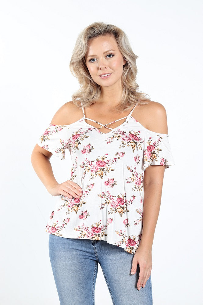 Women's White Floral Cold Shoulder Top