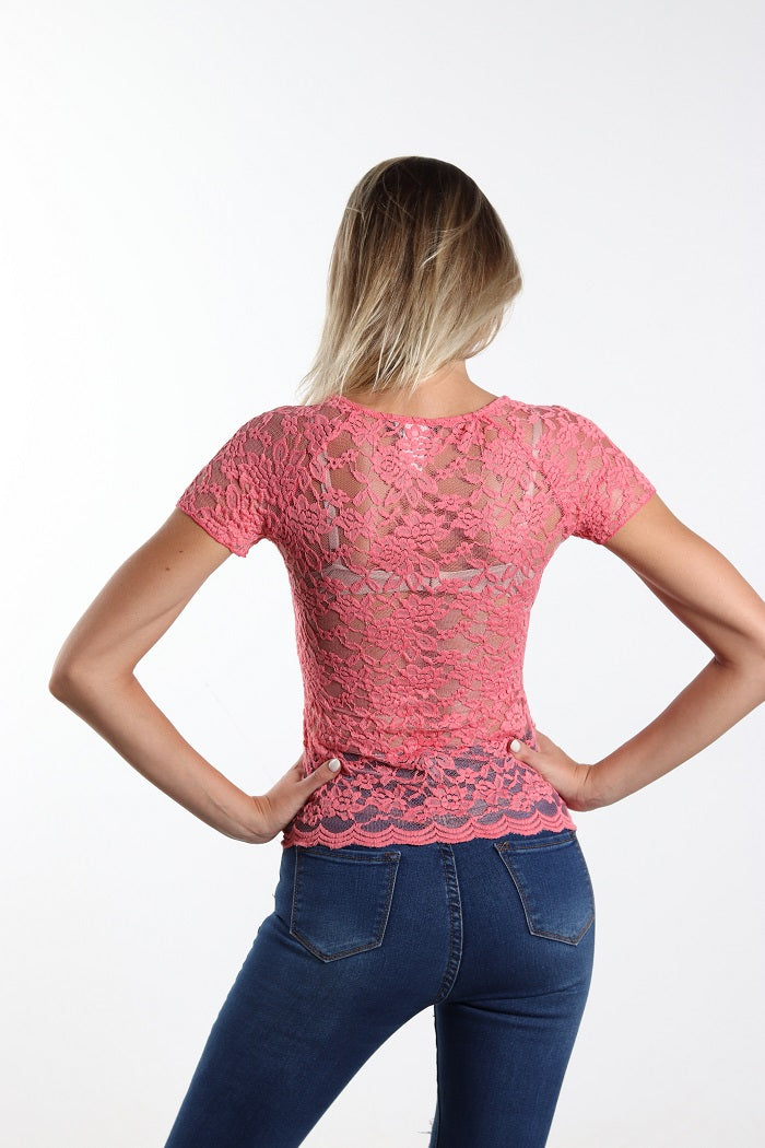 All pink lace up top easy to wear!