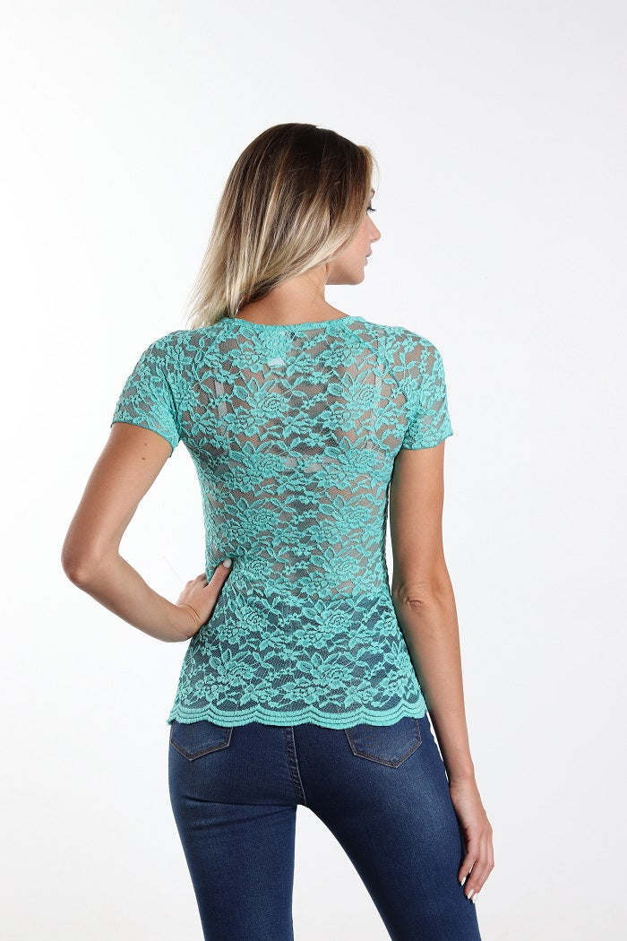 All lace up emerald top easy to wear!