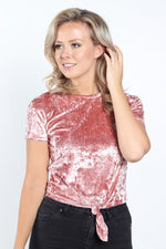 Women's Short Sleeve Velvet Crush Tie With Front Crop Top