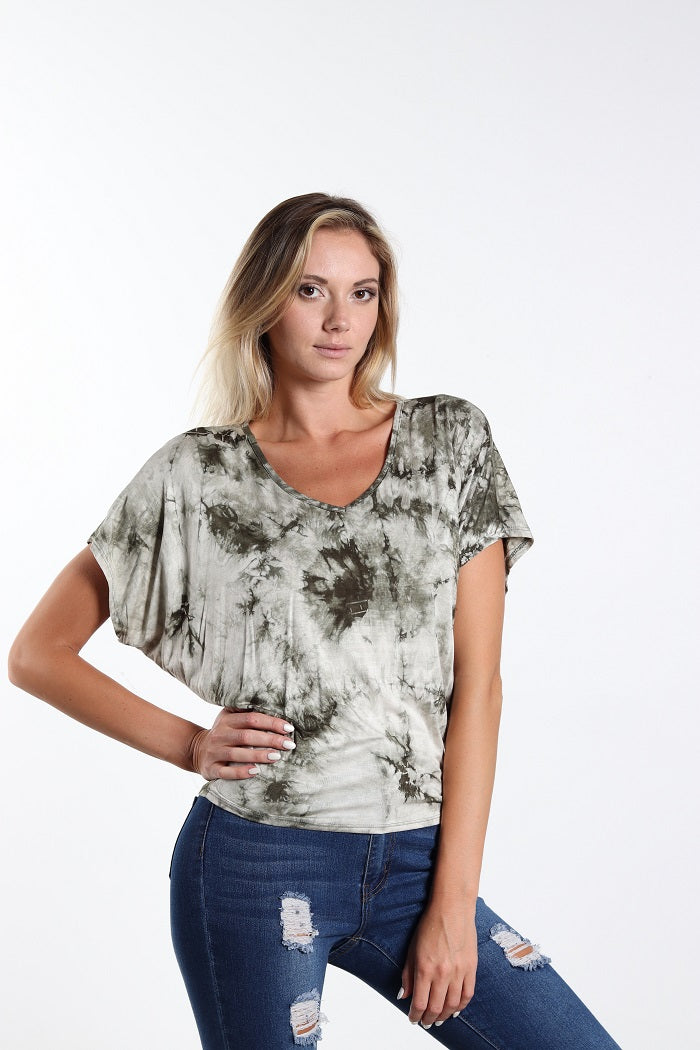 Women's V-Neck Tie Dye Top