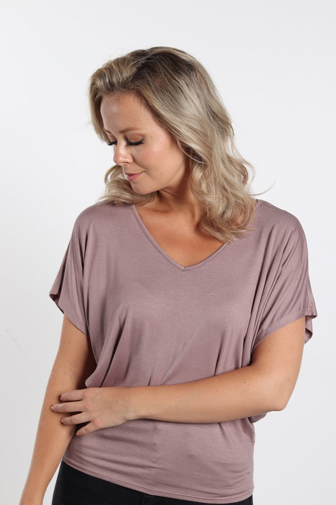 Women's Nude Basic V-Neck Shirt