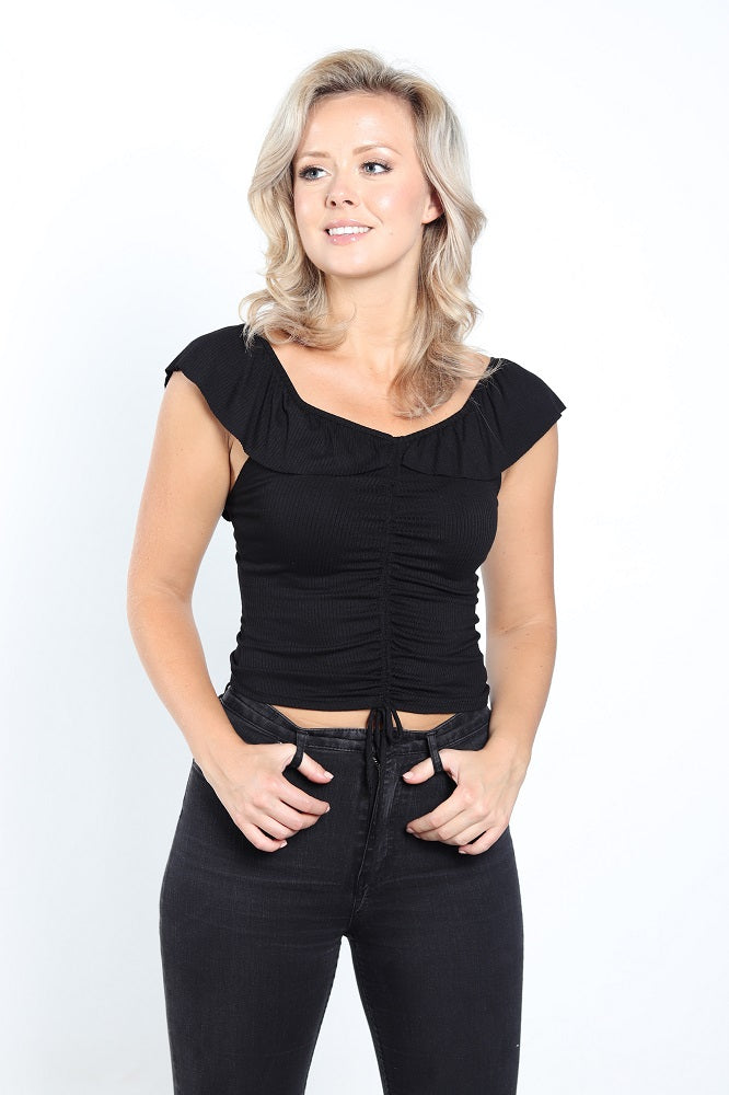 Women's Black Off-Shoulder Top