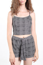 Women's Two Piece Plaided Top and Shorts