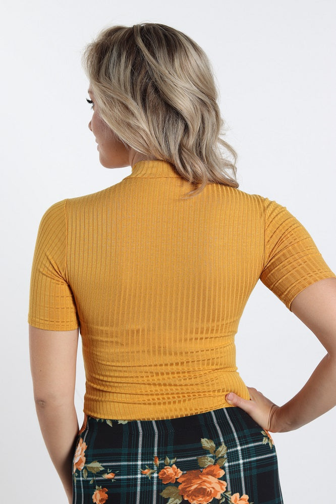 Yellow Mustard V-Neck Cut Out Top