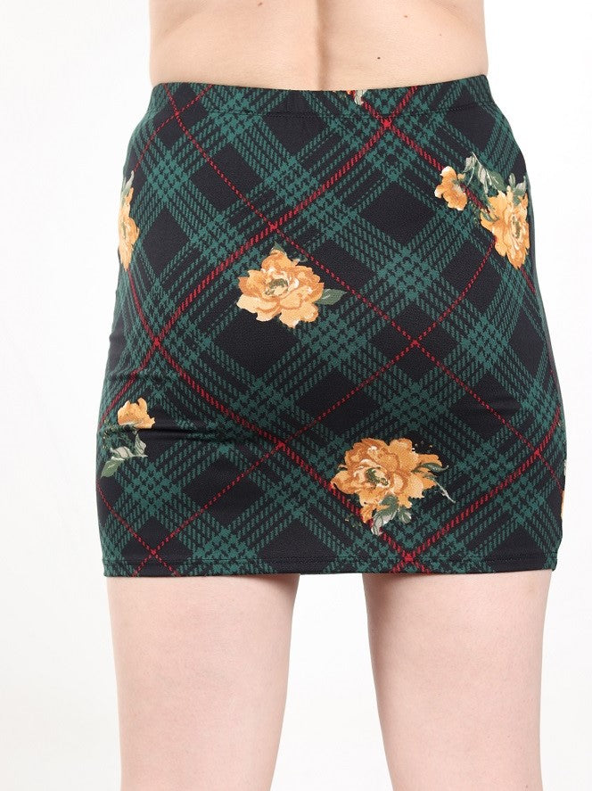 Women's Green Plaid Skirt W/ Yellow Flowers