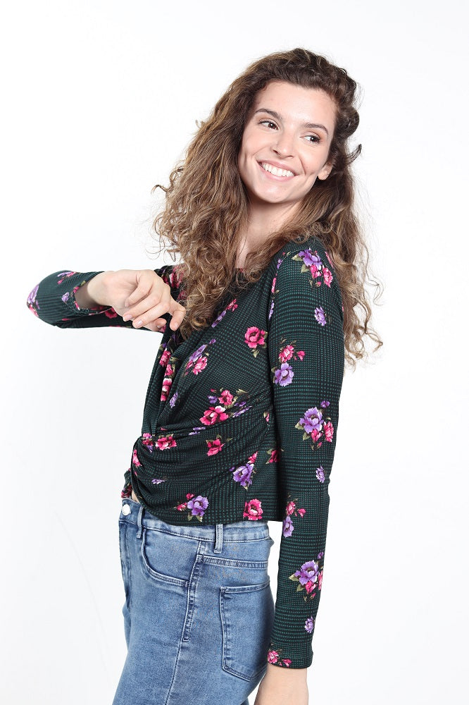 Women's Long-Sleeve Floral Print Knot Top