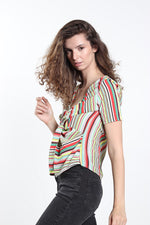 Women's Rainbow Print Twist Front Top