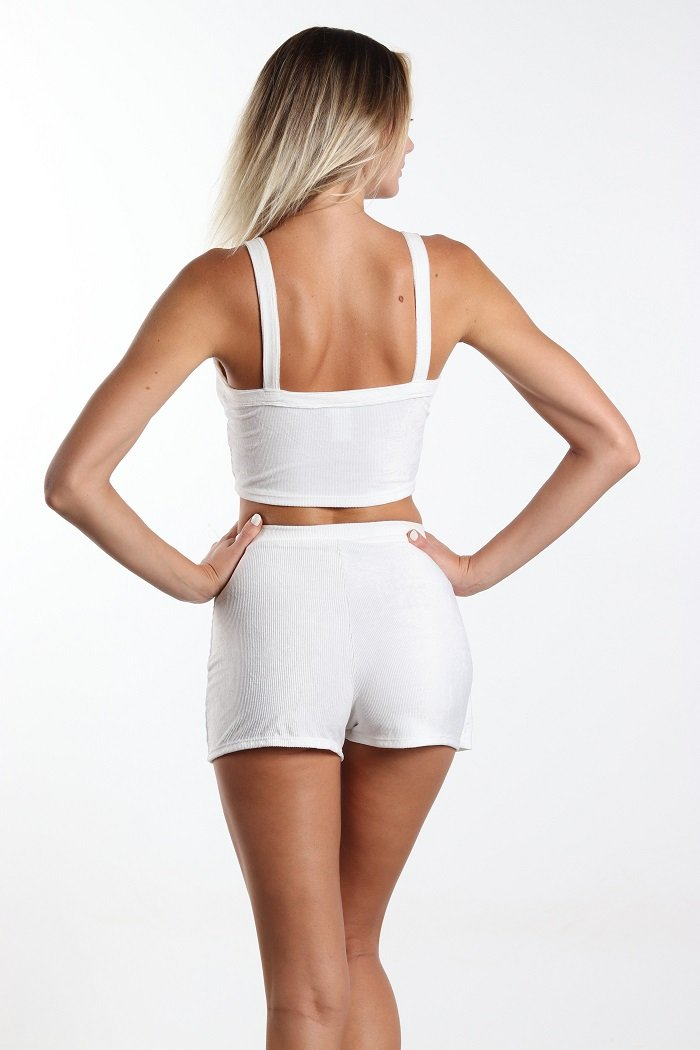 Women's Two Piece Button Crop Top + Side Button Shorts Set