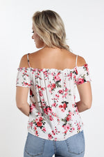 Woven Off Shoulder Button Front- White Floral Top